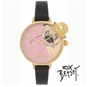 3d88c8e43028 Betsey Johnson Accessories - Betsey Johnson Pink Pug in a Hat Black Strap  Watch